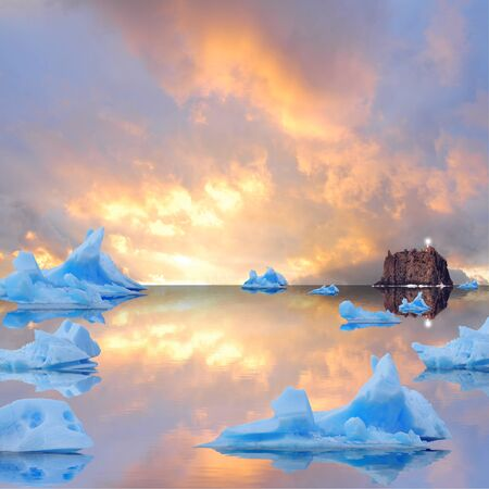 Icebergs floating in the sea at sunset   photo
