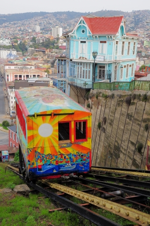 Passenger carriage of funicular railway  one of the oldest in the world  goes up on May 30, 2013 in Valparaiso, Chile