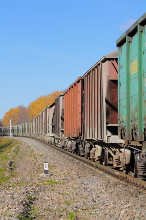 arrives: Freight train  Stock Photo