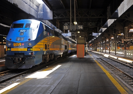 Passenger diesel train stands at Toronto Union station on June 28, 2011 in Toronto, Canada  新闻类图片