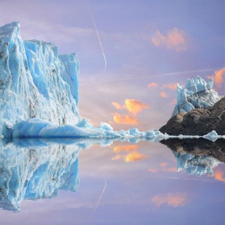 perito: Sunset sky above Perito Moreno glacier  Argentina