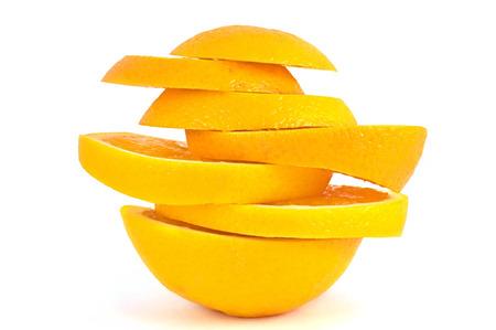 Slices of orange isolated on white background  Stock Photo