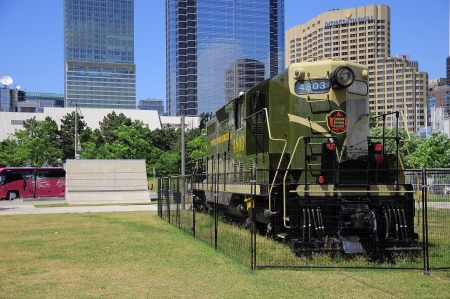 Diesel locomotive of  Canadian National Railways  company stands by Railway museum in the center of the city on June 28, 2011 in Toronto, Canada