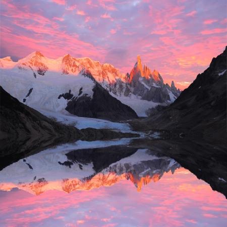 Cerro Torre mountain and lake at sunrise  Los Glaciares National park  Argentina
