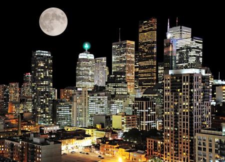 Toronto center  Night city view  Canada