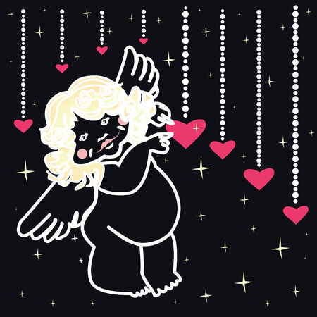 Shape of cute angel and hearts on the dark background