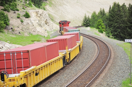 Long freight train in Canadian rockies   photo