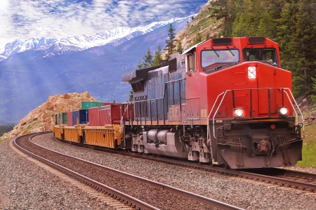 Freight train in Canadian rockies   photo