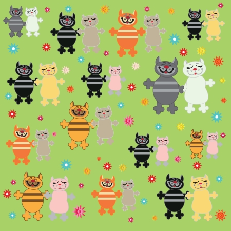 irresistible: Pairs of cats on green background  Illustration