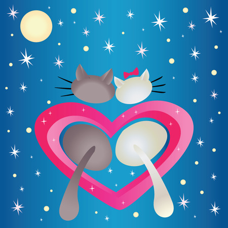 Male cat and pussycat in the heart shape on the blue background  Vector