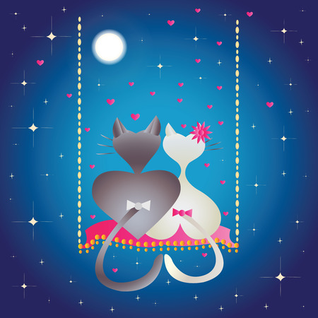 irresistible: Male cat and pussycat at night  Illustration