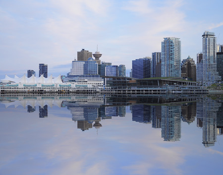 Evening view of Vancouver downtown from Stanley park  Canada