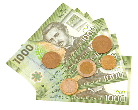 Coins and colorful bills of Chile   Stock Photo