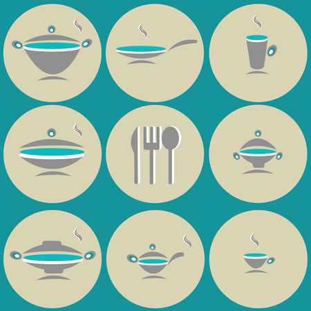 creamer: kitchen accessories in the circles on green background