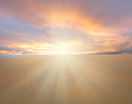 ray trace: Low tide on the wild beach at sunset  Argentina  Stock Photo