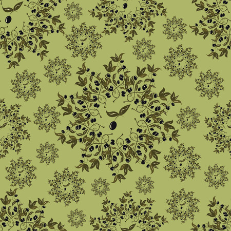 seamless patterns made from branches of black olives on green background