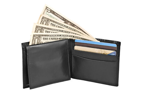 Money and credit cards in black leather purse isolated on white background   photo