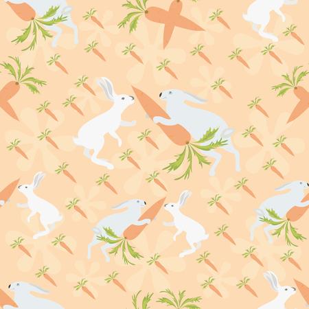 Rabbits with carrots on orange background  Seamless pattern  Vector