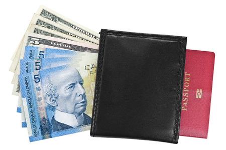 Canadian, american dollars, purse and passport