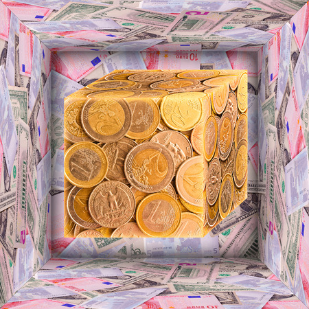 tresure: Open big 3d cube and small one made from pictures of banknotes and coins