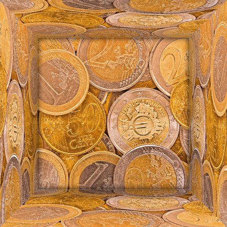 tresure: Open mirror cube made from euro coins pictures   Stock Photo