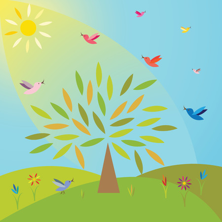 Tree on the meadow under the sun and birds around it  Illustration