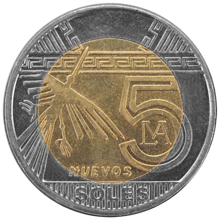 Peruvian five soles coin isolated on white background  photo