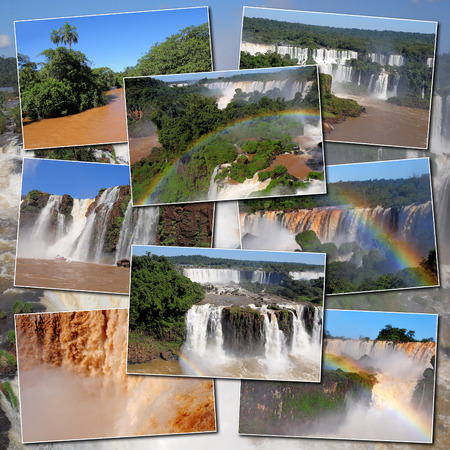 Collage made from pictures of Iguazu falls and river  Stock Photo