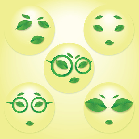 travesty: Different expressions of sun face  Illustration