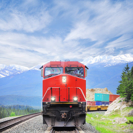 diesel train: Freight train in Canadian rockies