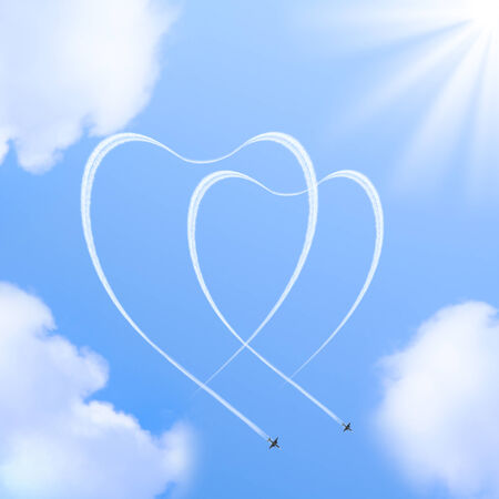 Two hearts shapes in the sky made from the planes traces  Stock Photo