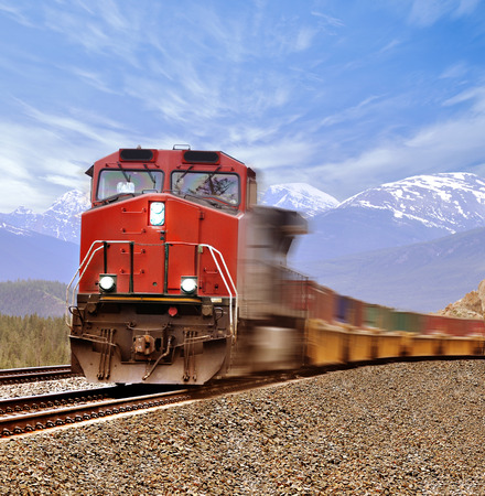 intermodal: Freight train in Canadian rockies