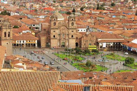The central square In Cuzco, Plaza de Armas  Peru