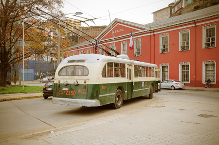 terminus: Old trolleybus stands at the terminus on May 30, 2013 in Valparaiso, Chile