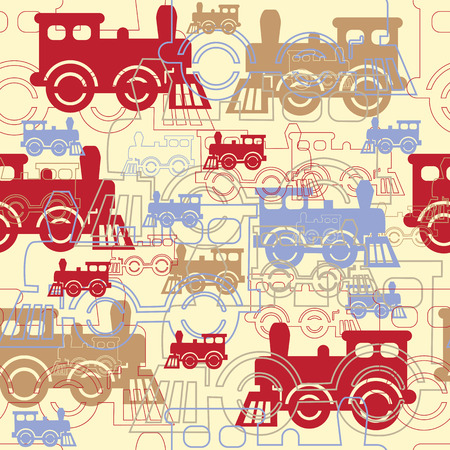 seamless background with steam colorful locomotives