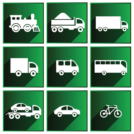 Transport icons with shadows on the green background  Illustration