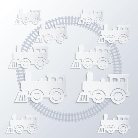 steam locomotives: Steam locomotives and circle of railroad  Monochrome illustration