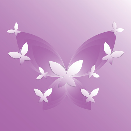 Small and big butterflies on violet background  Vector