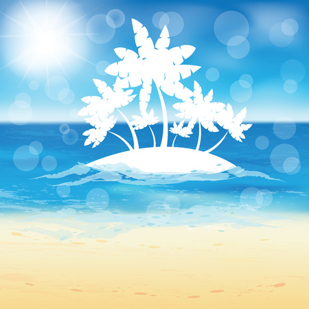sand beach: Sand beach and small island with palms in the open sea