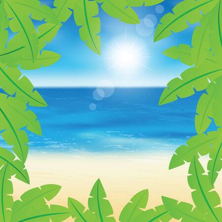 sand beach: Palm leaves on peaceful sand beach background  Illustration