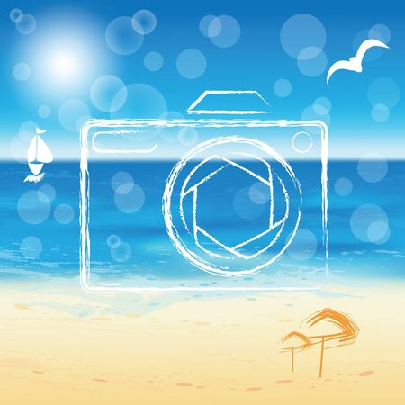 sunny beach: Photo camera silhouette on the sunny beach background  Vector illustration  Illustration