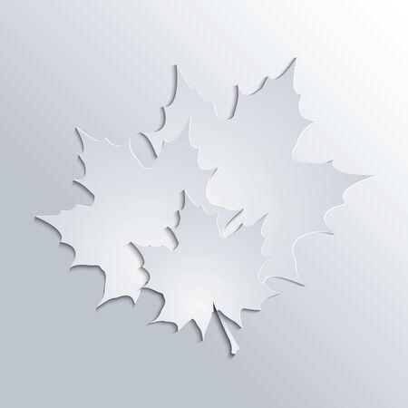 Maple leaves silhouttes on gray background  Illustration