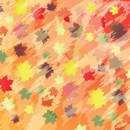 Colorful background with maple leaves  Vector illustration  Illustration