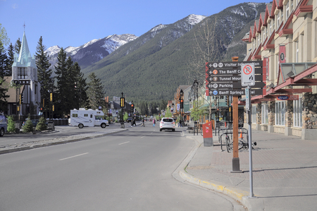 Central street of Banff at morning time on June 05, 2011 in Banff, Canada