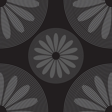daisy wheel: Gray wheels on black background  Seamless pattern