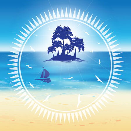 sand beach: Sand beach and small island with palms in the open sea in the circle frame