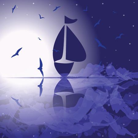 open sea: Yacht in the open sea at night   Illustration
