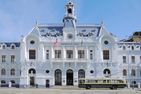 Armada de Chile building at Plaza Sotomayor on May 29, 2013 in Valparaiso, Chile. It is the National Headquarter of the Chilean Navy.
