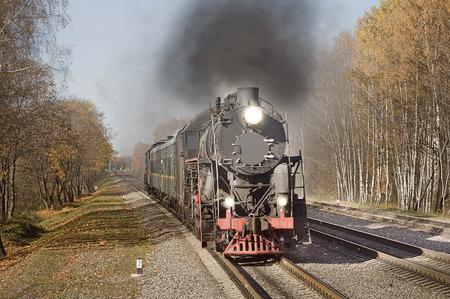 steam train: Retro steam train goes fast.