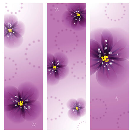 Pansy flowers on the greeting card. Vector illustration.